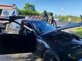 Wypadek w Mełnie. Zderzyły się cztery samochody. Jedna osoba ranna