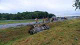 Tarnów. Czarna seria wypadków na autostradzie A4 koło Tarnowa, w sobotę rano dachowały dwa pojazdy 10.07.2021 [ZDJĘCIA]