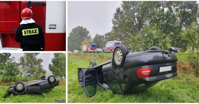 Gmina Nowa Ruda: Audi dachowało w Bartnicy. Kierowca stracił panowanie nad autem podczas wyprzedzania.  Czytaj dalej. Przesuwaj zdjęcia w prawo - naciśnij strzałkę lub przycisk NASTĘPNE.