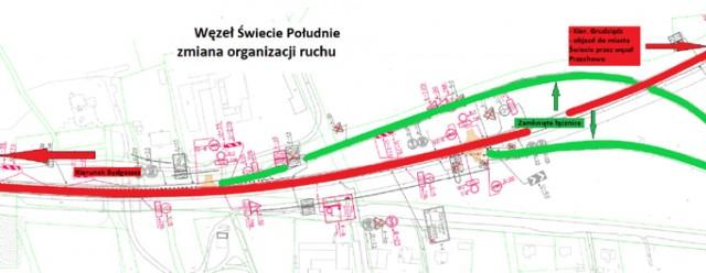 Za pomocą tej mapy GDDKiA przedstawia zmiany w organizacji ruchu na trasie Nowe Marzy - Dworzysko
