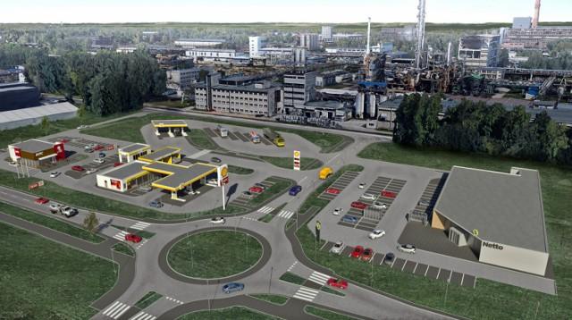 Wizualizacja nowego parkingu przy ul. Fabrycznej w Oświęcimiu z zapleczem w postaci sklepów, restauracji i myjni
