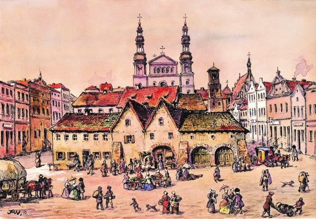 Tak prezentuje się wizja niemieckiego malarza Paula Jaeckla przedstawiająca domniemany wygląd dawnego Starego Rynku z ratuszem, przyległymi kramami i studzienką. Akwarela powstała w 1810 roku, kiedy na rynku znajdowały się już tylko pozostałości dawnego ratusza. Prawdopodobnie artysta bazował na przekazach starszych bydgoszczan i własnej wyobraźni.
