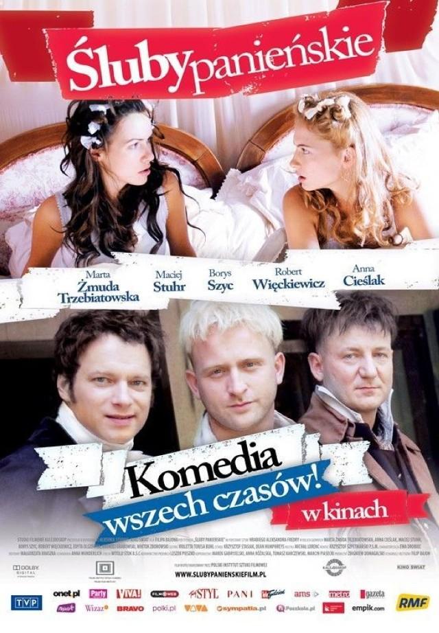 """Plakat do filmu """"Śluby panieńskie""""."""