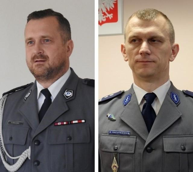 Z lewej inspektor Maciej Wesołowski - bielski komendant, który od teraz kieruje białostockimi policjantami. Z prawej inspektor Wojciech Macutkiewicz, dotychczasowy komendant białostocki. Został po. komendanta powiatowego w Bielsku Podlaskim.