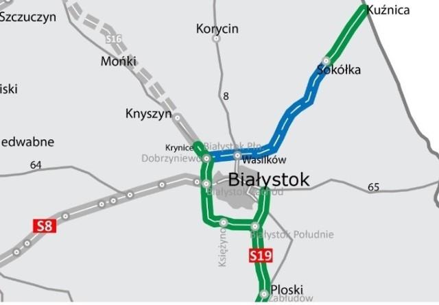 Kolorem niebieskim zaznaczono odcinek przyszłej S19 Dobrzyniewo Duże - Sokółka