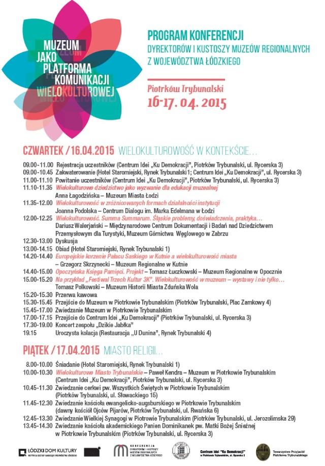 Program konferencji dyrektorów i kustoszy muzeów regionalnych z woj. łódzkiego w Piotrkowie