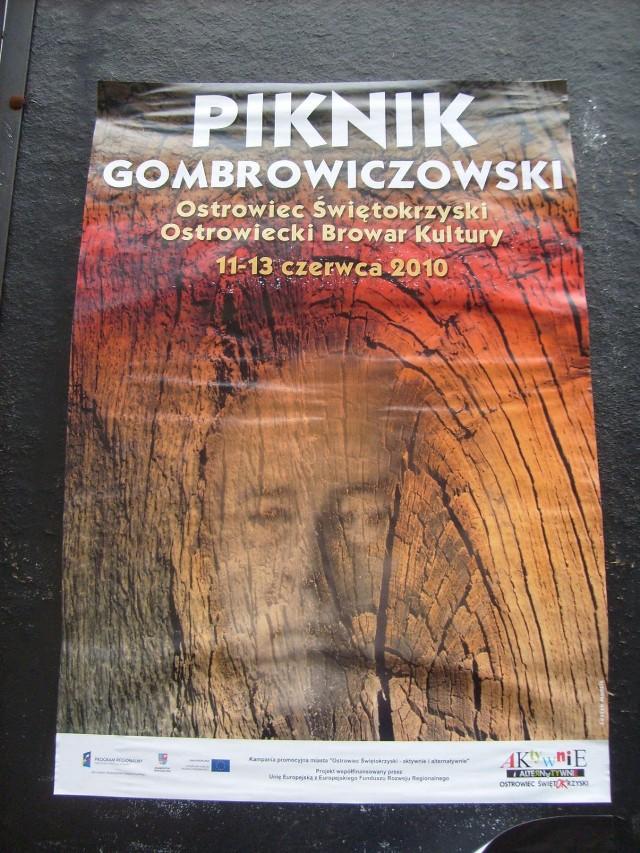 Plakat Pikniku Gombrowiczowskiego w ostrowcu Świętokrzyskim.