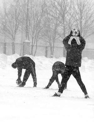 Będzińskim zawodnikom nie przeszkadzają  w treningach nawet ciężkie warunki atmosferyczne.