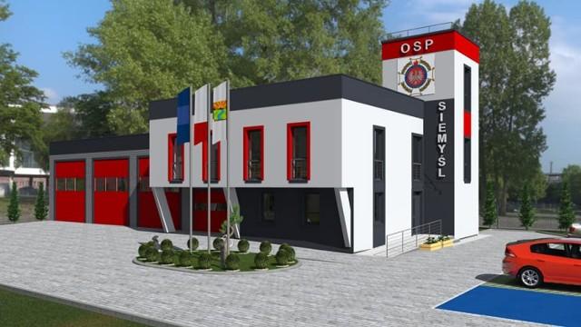 Oto wizualizacja projektu remizy w Siemyślu, który powstał w pracowni projektowej Krawt Łukasz Krawiecki. Umieścili ją na swojej stronie strażacy z OSP Siemyśl