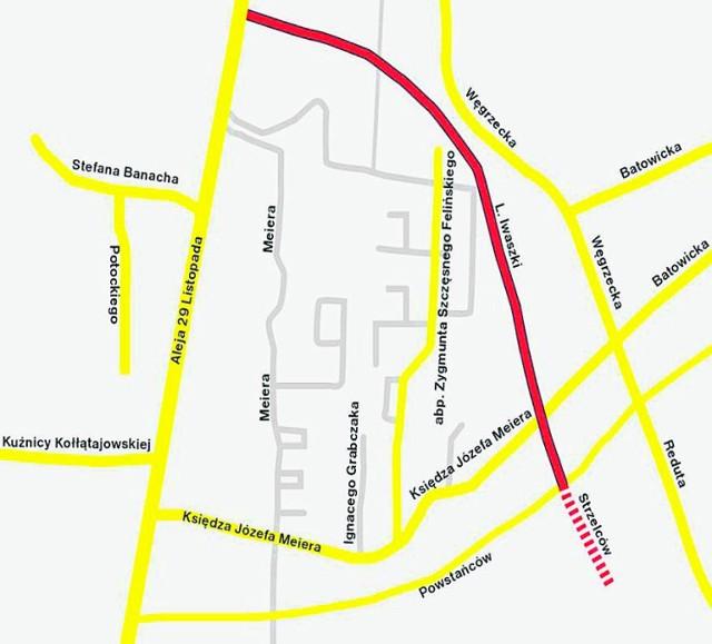 Mapa prezentuje przybliżony przebieg planowanej ulicy Iwaszki. Zgodnie z nowymi założeniami urzędników miejskich, ta ważna droga ma powstać dopiero za cztery lata, czyli do 2022 roku