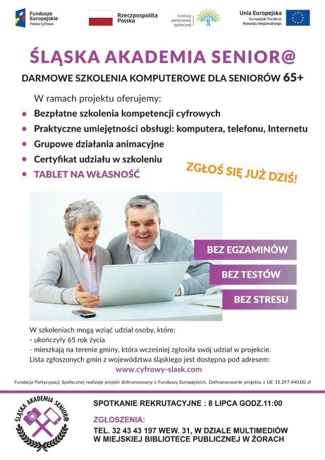 Spotkanie rekrutacyjne Śląskiej Akademii Seniora w Żorach odbędzie się 8 lipca.