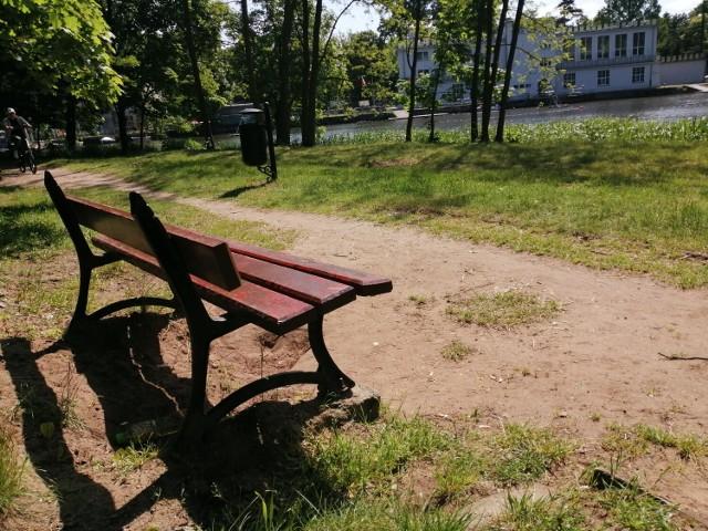 Park Miejski w Kaliszu. Wiele ławek wymaga naprawy lub czyszczenia