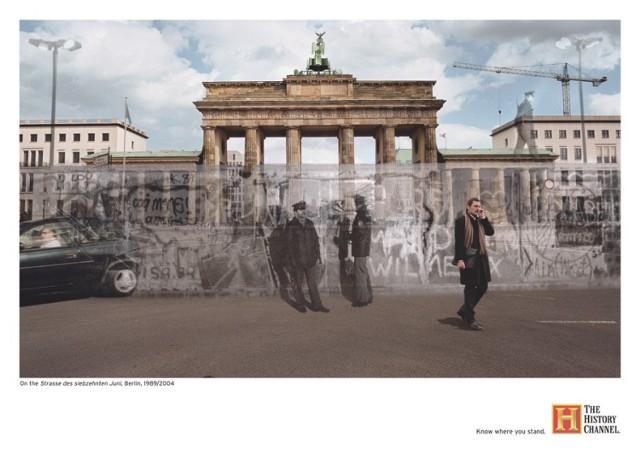 Berlin, ulica 17 Czerwca: 1989/2004   Ulica 17 Czerwca jest częścią berlińskiej osi wschód-zachód. Ulica rozpoczyna się przy położonym z tyłu Bramy Brandenburskiej placu Platz des 18. März. W tym miejscu w latach 1961-1989 znajdował się Mur Berliński, rozgraniczający strefę alianckich i radzieckich wpływów: Berlin Zachodni od Berlina Wschodniego i NRD.  Do 1989 roku na Straße des 17. Juni odbywały się defilady wojsk zachodnich państw alianckich.  strona autora