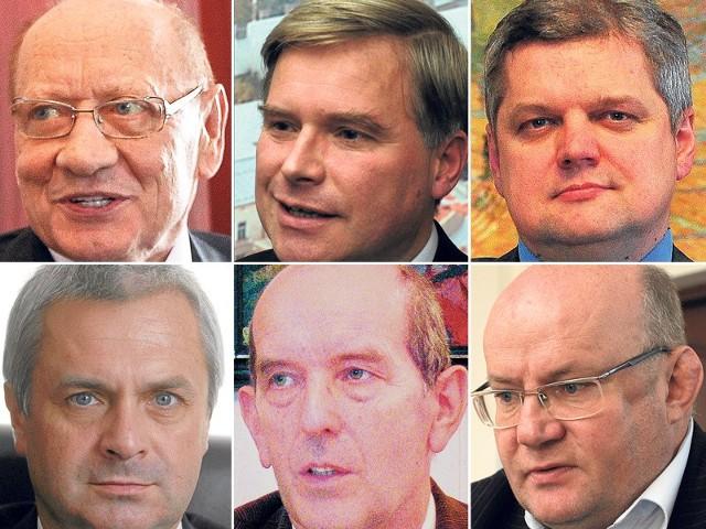 Nz. prezydenci podkarpackich miast. W górnym rzędzie od lewej: Tadeusz Ferenc (Rzeszów), Piotr Przytocki (Krosno), Norbert Mastalerz (Tarnobrzeg); w dolnym rzędzie: Robert Choma (Przemyśl), Janusz Chodorowski (Mielec), Andrzej Szlęzak (Stalowa Wola).