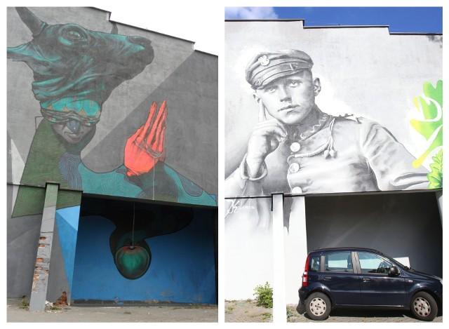 Stary i nowy mural w Dębie