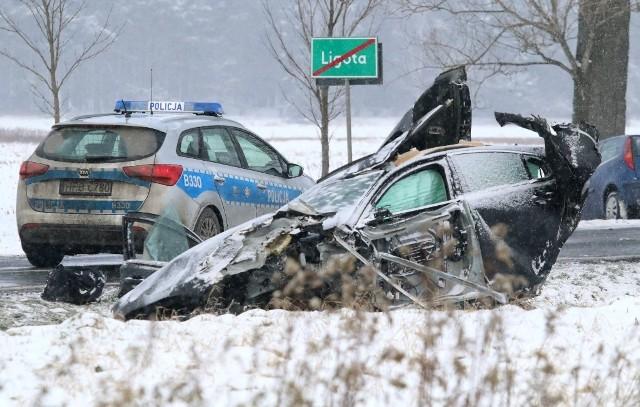 Wypadek na DK15 w Ligocie pomiędzy Trzebnicą a Miliczem 16.01.2021