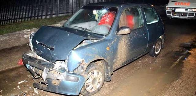 Do szpitala trafił także kierowca nissana