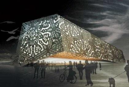 Ta wielka wycinanka to polski pawilon na EXPO 2010. Wzbudza olbrzymie zainteresowanie zwiedzających światową wystawę (fot. www.lubuskie.pl)