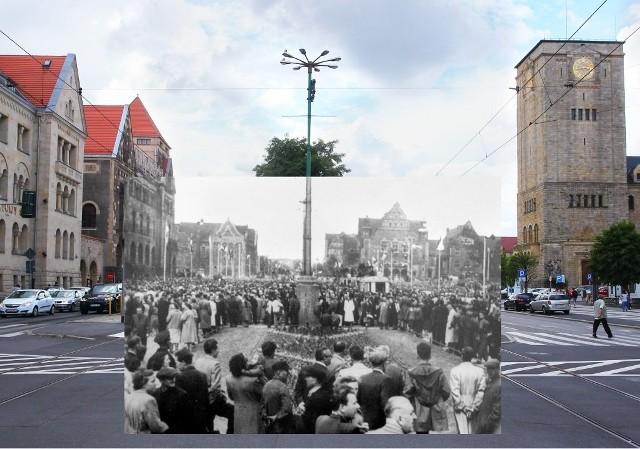 28 czerwca 1956 strajkujący z powodu fatalnej sytuacji ekonomicznej robotnicy zakładów Cegielskiego (wówczas im. Józefa Stalina) manifestacyjnie przeszli na Św. Marcin (wtedy Armii Czerwonej) na plac przedZamkiem, w którym miała siedzibę Miejska Rada Narodowa. Dołączyli do nich pracownicy innych zakładów. Zgromadziło się  tak ok. 100 tys. osób. Delegacja manifestantów prowadziła negocjacje z przedstawicielami PZPR. Domagano się przyjazdu  premiera Józefa Cyrankiewicza.