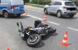 Wypadek w Trześni, na drodze krajowej 77. Ranny motocyklista (ZDJĘCIA)