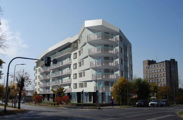 """Tak ma wyglądać nowy blok mieszkalny przy ulicy Struga 60 obok Galerii """"Przy Struga"""" na przeciwko budowanej właśnie hali."""