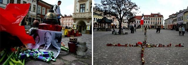 Na rzeszowskim Rynku na zdjęciu państwa Kaczyńskich, wschodnim zwyczajem, ktoś położył czekoladowe cukierki.