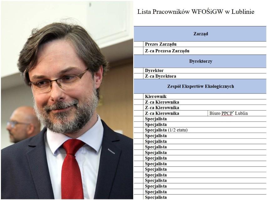 Na zdjęciu: Paweł Gilowski, prezes WFOŚiGW w Lublinie oraz wykaz stanowisk w urzędzie, którym zarządza