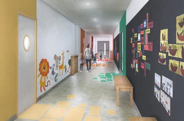 Samorządowcy prezentują wizualizacje nowego przedszkola gminnego, które ma powstać w Michałowicach. Miejsce znajdzie tam 200 dzieci