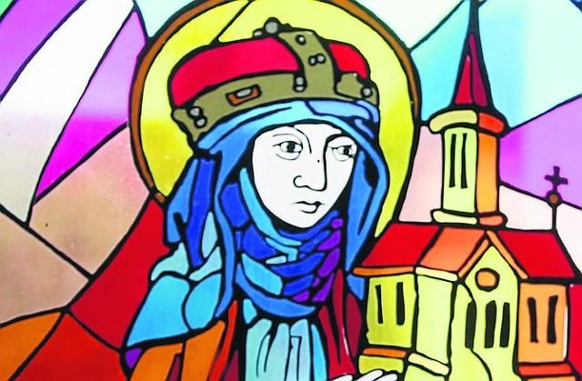 Wizerunek św. Jadwigi na witrażu w kościele w Trzebnicy
