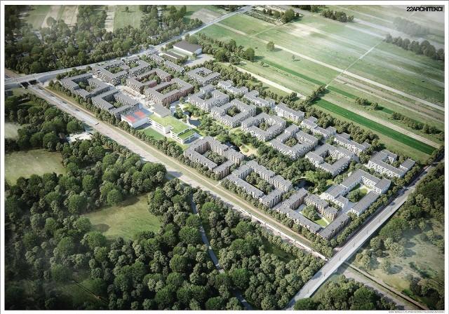 Jedna ze zwycięskich koncepcji osiedla Mieszkanie Plus w Warszawie. Podobnie może wyglądać osiedla w Krakowie na Klinach
