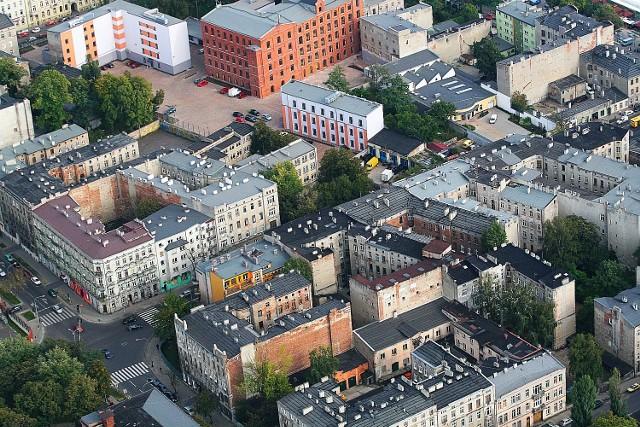 Łódź z lotu ptaka, panorama Łodzi i zdjęcia lotnicze miasta z pokładu sterowca Allegro