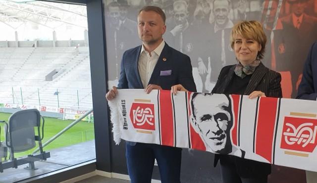 Hanna Zdanowska, prezydent Łodzi i Tomasz Salski, prezes ŁKS