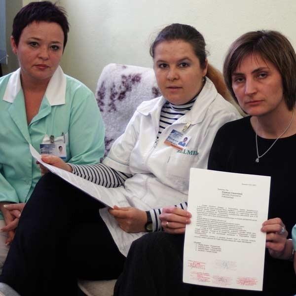 - Mamy tego dość. Dlatego napisaliśmy do marszałka - komentują sytuację w szpitalu szefowe związków zawodowych (od lewej): Bożena Sikorska, Małgorzata Głowacka, oraz Iwona Strączek