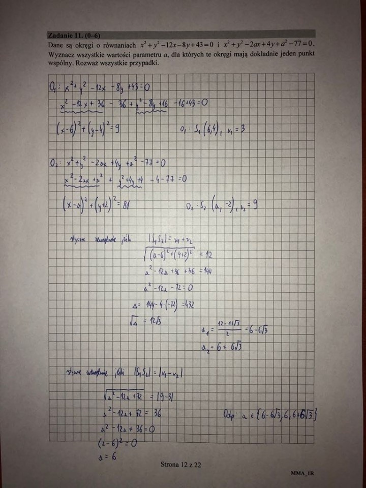 matura matematyka 2021 zadania otwarte