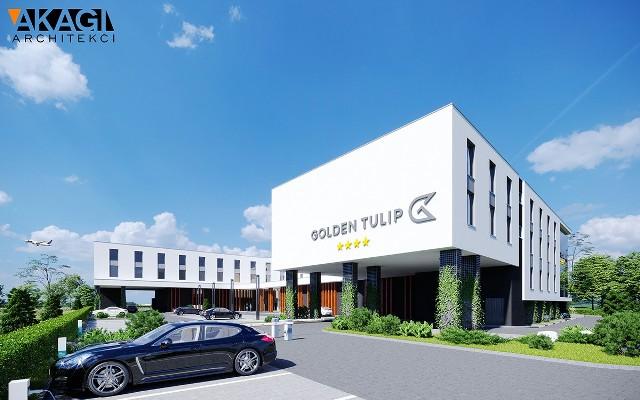 Wizualizacja nowego hotelu, który ma powstać w pobliżu lotniska Kraków-Balice