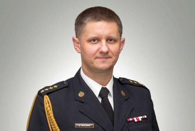Komenda powiatowa Państwowej Straży Pożarnej w Kluczborku - wicekomendant st. kpt. Łukasz Olejnik