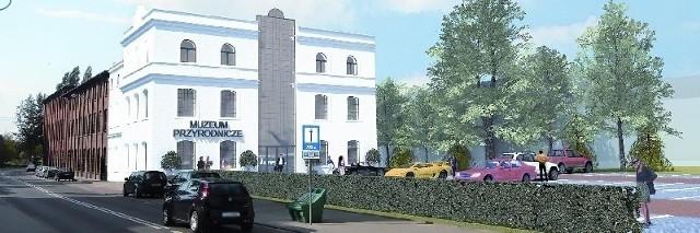 Wizualizacja muzeum przyrodniczego. W otynkowanej części będą biura oraz sale dla naukowców i studentów. W dalszej części będzie ekspozycja