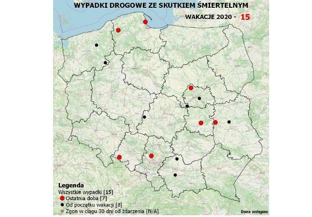 Mapa śmiertelnych wypadków w wakacje 2020. Niestety na Opolszczyźnie jest już pierwsza ofiara.