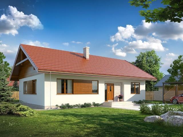 Projekt domu Abra drewniana - od wejściaDom jednorodzinny, parterowy będzie wygodny i funkcjonalny, jeżeli dobrze przemyślimy rozmieszczenie w nim pomieszczeń.