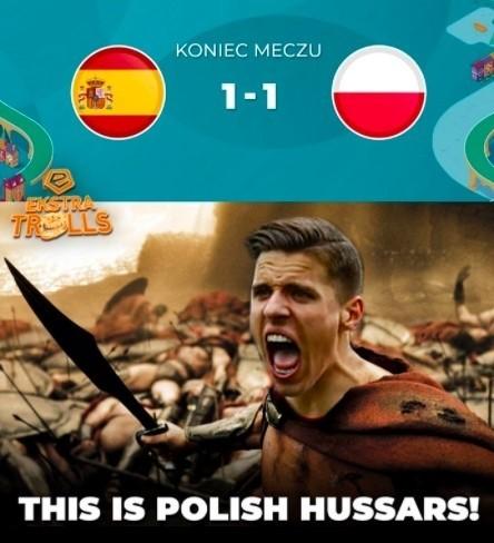 Polska husaria rusza teraz na Szwecję! MEMY po meczu Polska - Hiszpania Euro nasze! 23.06