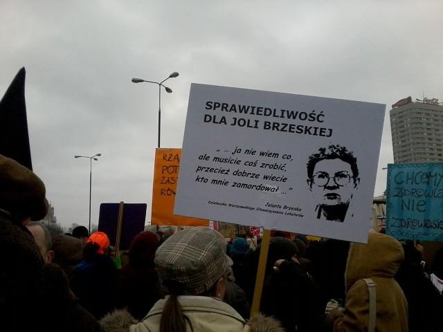 Transparent domagający się wyjaśnienia zabójstwa Jolanty Brzeskiej (Manifa 2013)