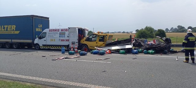 Groźny wypadek na autostradzie A1 w miejscowości Wąwał (powiat włocławski).