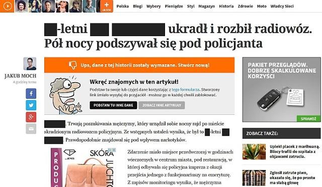 Tak wygląda strona, na której można umieścić sfałszowany artykuł. Do złudzenia przypomina stronę portalu natemat.pl