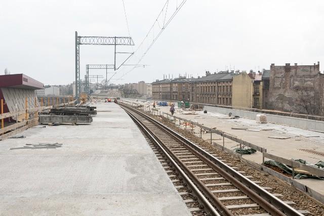 Trwa budowa estakad kolejowych w centrum Krakowa od ul. Kopernika do ul. Miodowej.