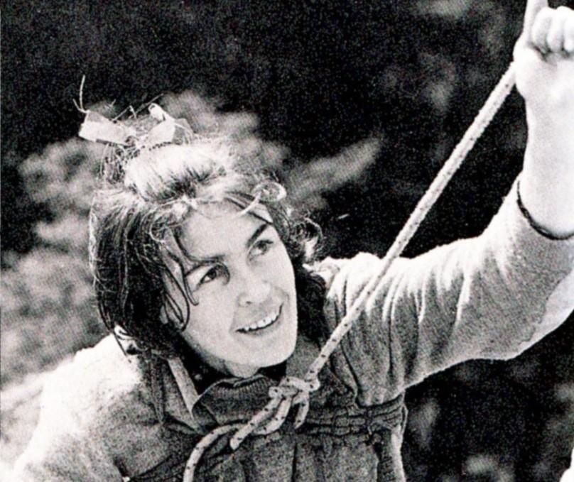 Wanda Rutkiewicz na Krzywej Turni w Sokolikach (lata 70.)