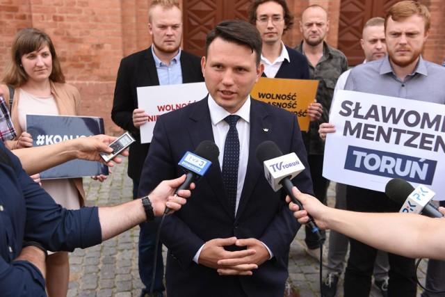 20.08.2019 Toruń. Konferencja prasowa Slawomira Mentzena