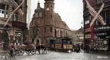 Handel w przedwojennej Bydgoszczy - pokolorowane unikatowe zdjęcia straganów, sklepów i reklam