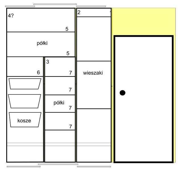 Rysunek szafy - projektRysunek wnętrza szafy pokazuje rozplanowanie półek i koszy.