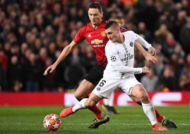 Marco Verratti (z prawej) ostatecznie zagrał w pierwszym meczu z Manchesterem United