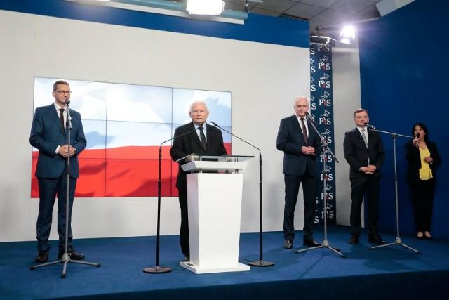 Konferencja liderów Zjednoczonej Prawicy po podpisaniu nowego porozumienia - wrzesień 2020 roku.